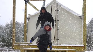 Winter Tent Camping During an ARCTIC BLAST! (Wall Tent with Wood Stove)