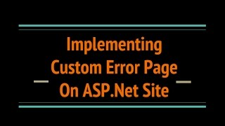 How to fix asp.net add error page