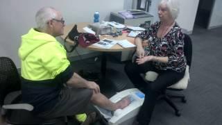 Heel Ultrasound Bone density test with James E Taylor
