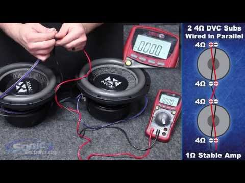 How To Wire Two Dual 4 Ohm Subwoofers To A 1 Ohm Final Impedance Car Audio 101 Youtube
