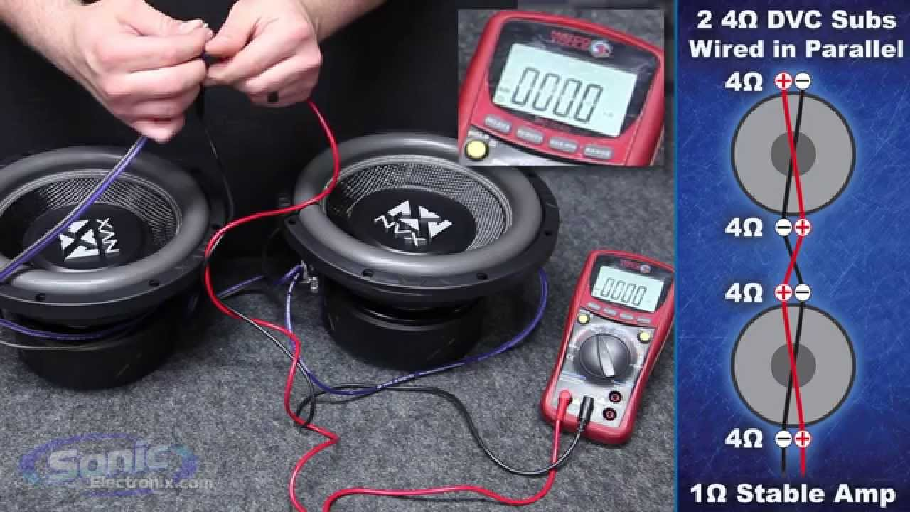 How to Wire Two Dual 4 ohm Subwoofers to a 1 ohm Final Impedance | Wiring Subwoofers on amp wiring, sound wiring, cruise control wiring, av receiver wiring, sub wiring, automatic headlights wiring, audio wiring, air conditioning wiring, usb wiring, surround wiring, speaker wiring, soundbar wiring, bass wiring, keyboard wiring, woofer wiring, amplifier wiring, crossover wiring, power wiring,