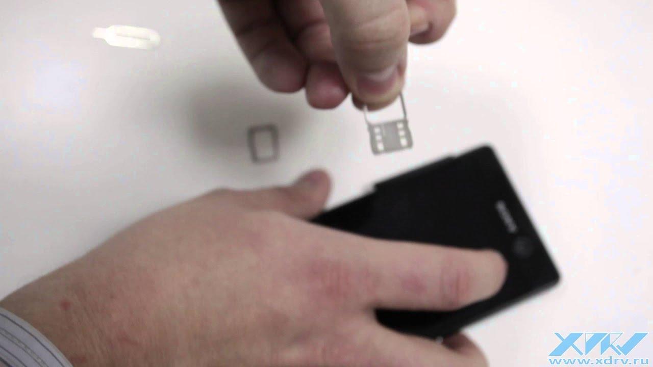 Как вставить SIM-карту в Sony Xperia M5 (XDRV.RU) - YouTube