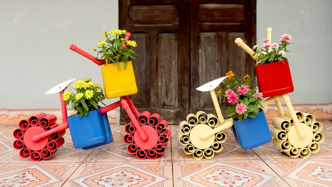 Amazing Ideas! DIY Beautiful Bicycle Planter from PVC Pipes for Your Garden