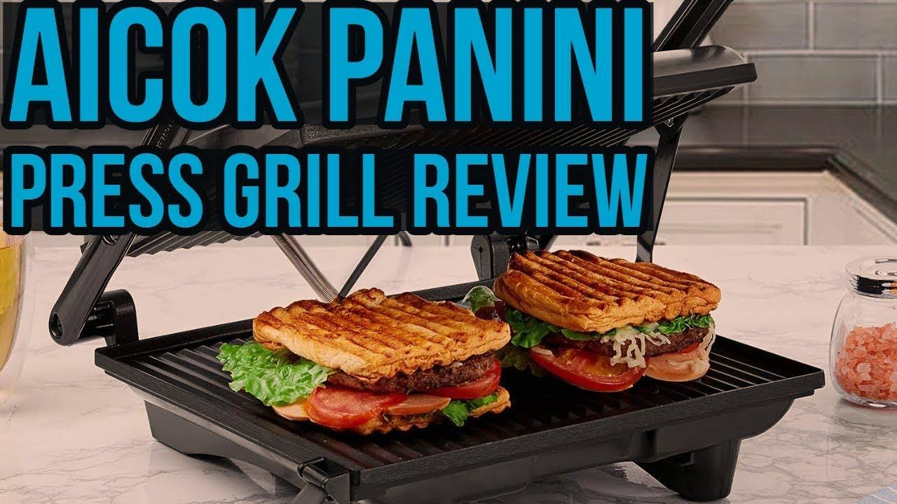 Parrilla Eléctrica con Aicok Sandwichera Grill 4-Serving Panini Grill 2000W