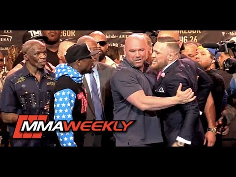 Thumbnail: Dana White Steps in During Floyd Mayweather vs Conor McGregor Face-Off in L.A.