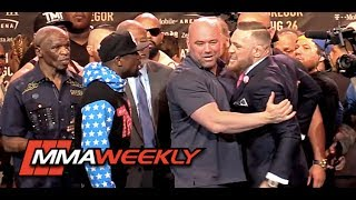 Dana White Steps in During Floyd Mayweather vs Conor McGregor Face-Off in L.A.