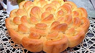 РАЗБОРНЫЙ ПИРОГ. Хризантема. Пирог с картофелем и жареным луком
