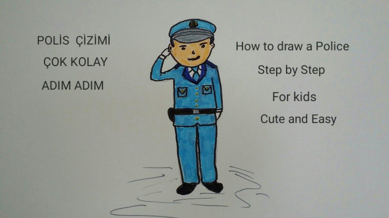 Polis Nasil Cizilir Meslekler Cok Kolay How To Draw A Policeman