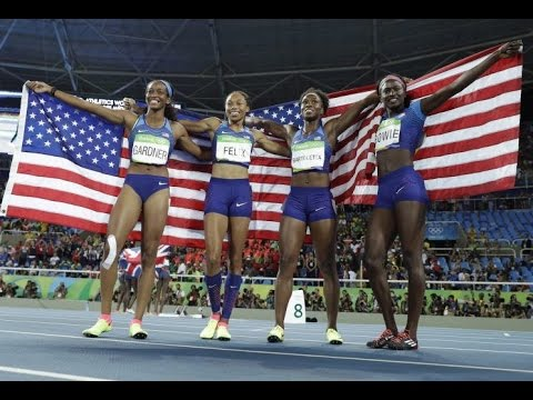U.S  women's 4x100 relay team sprints past Jamaica to capture Olympic gold
