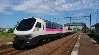 キハ183(ノースレインボーエクスプレス車両)特急フラノラベンダーエクスプレス3号 豊沼駅通過