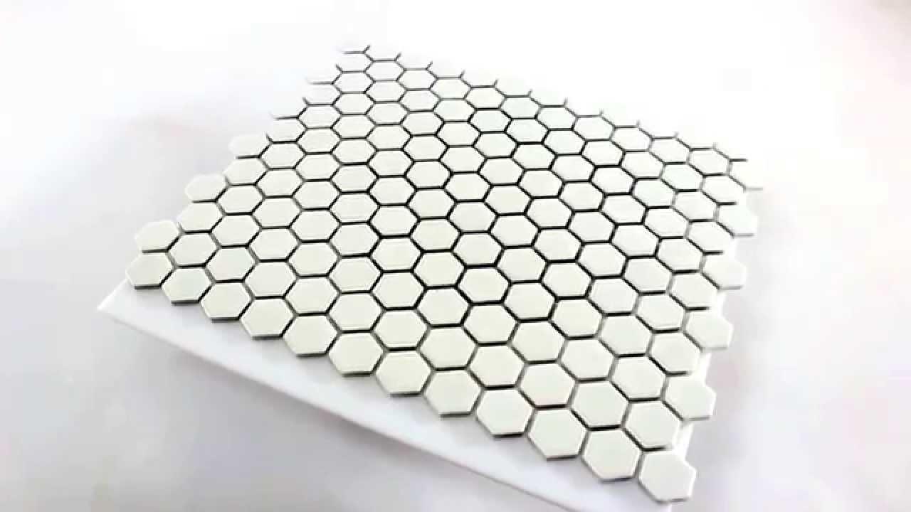 Hexagon feinsteinzeug mosaik fliesen weiss matt youtube - Fliesen hexagon ...