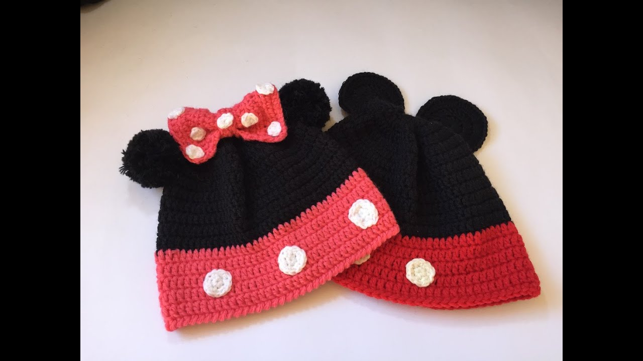 Tuto bonnet Minnie et Mickey au crochet