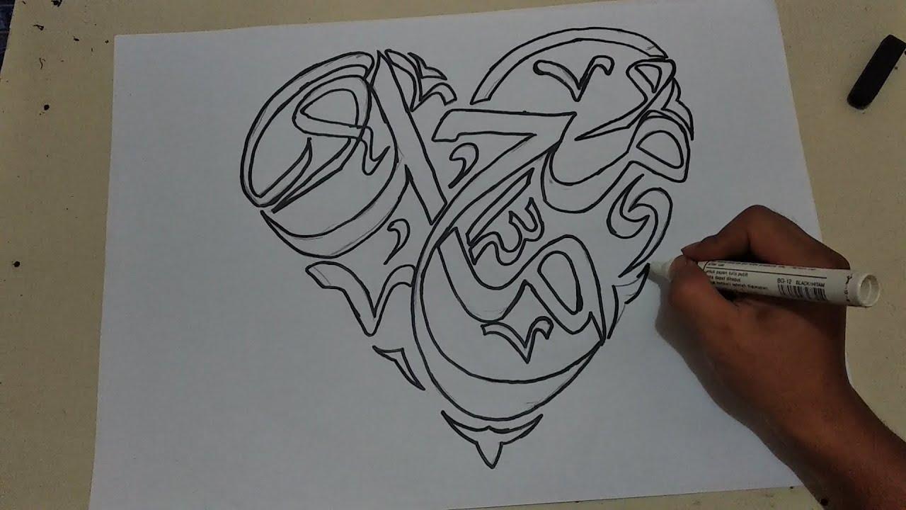 Menggambar Kaligrafi Muhammad Bentuk Love