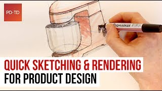 How to Sketch and Render for Product Design - Draw like a Pro - Marker Tips & Tricks