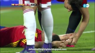 Sergio Busquets Horror Injury. Spain vs Georgia (07.06.2016)