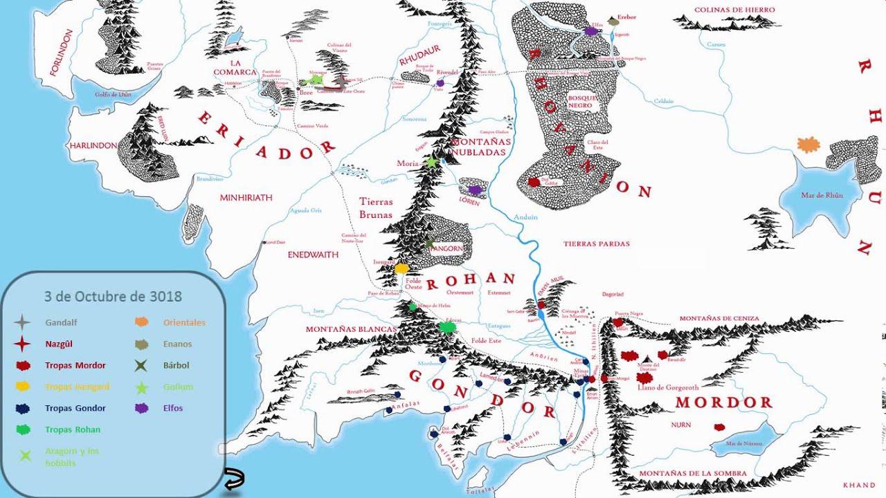 Mapa Tierra Media Hd.Mapa Animado De La Guerra Del Anillo