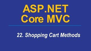 22. SHOPPING CART MODELS -  Asp.Net CORE MVC