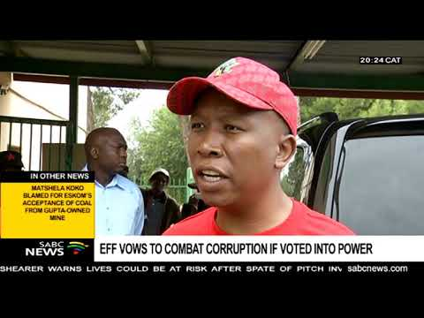 Malema vows to eradicate corruption if voted into power