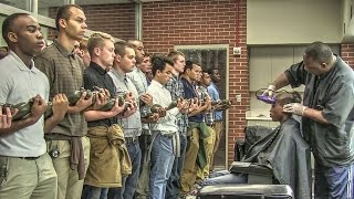 Marine Corps Recruits Initial Haircuts
