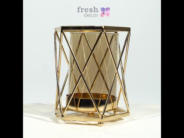 Подсвечник золотой из металла и стекла в виде стакана в оплетке продажа оптом. Рассчитаны на 1 свечу