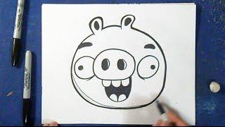 Como desenhar o porco 3 (Bad Piggies) - Angry Birds