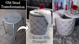 DIY OTTOMAN WITH STORAGE! I TURNED MY OLD STOOL INTO AN OTTOMAN! QUICK AND EASY!