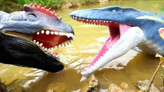 NEW MOSASAURUS Vs Giant T-Rex ! Jurassic World Surprise Dinosaur Toys ~ BOBOTV