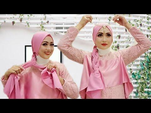 tutorial hijab segi empat pesta syar'i dan pesta simple cocok buat kondangan yang tampak terlihat simple dan elegan,WATCH IN ....