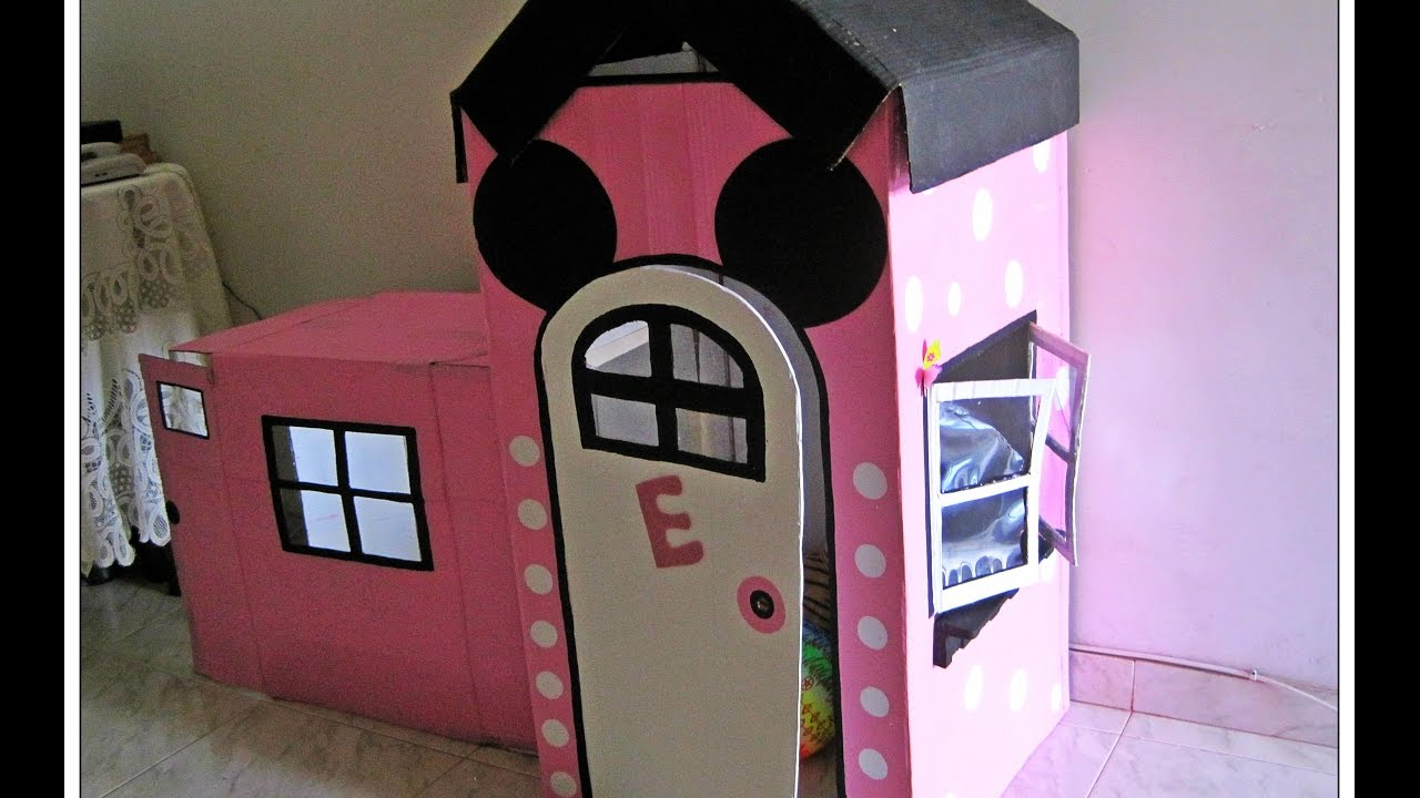 Casas Decoradas Por Dentro Casita En Carton Minnie - Youtube