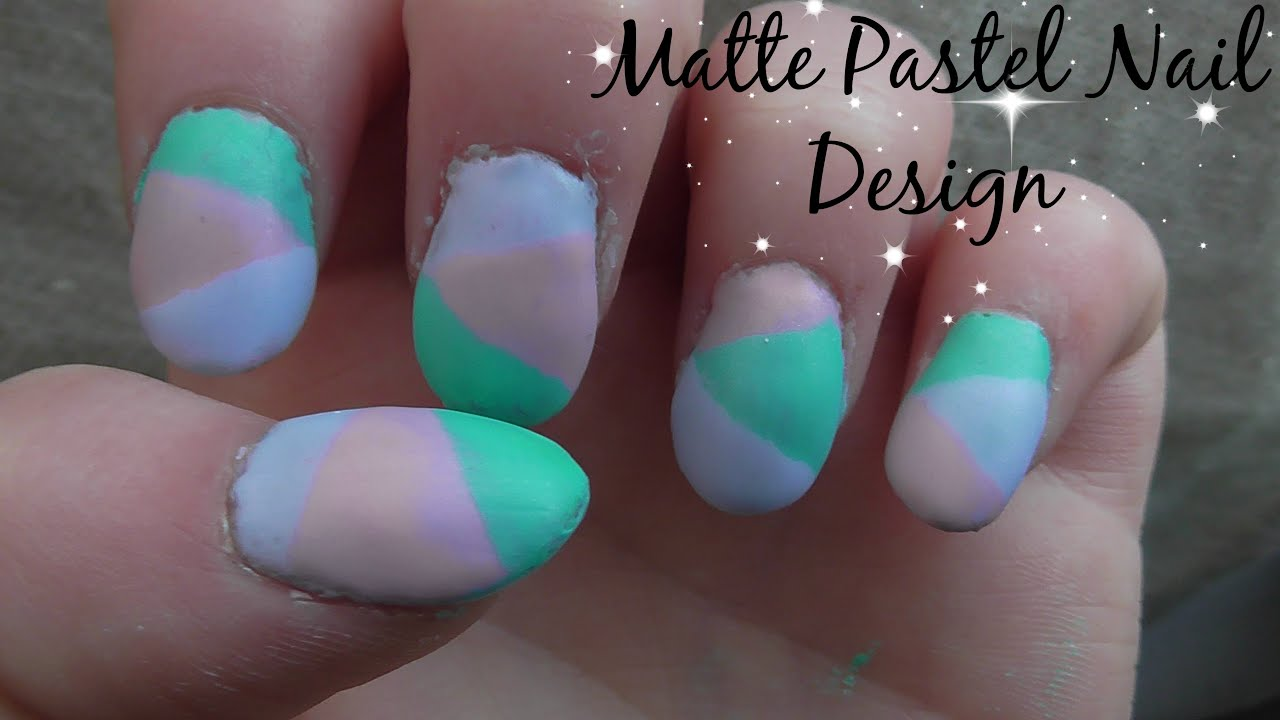 matte pastel nail design