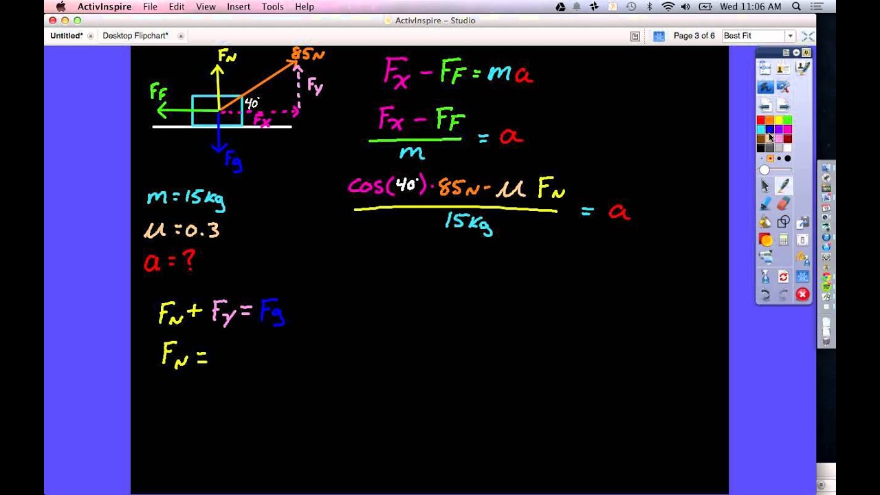 Finding Acceleration With Forces At Angles Youtube Free Body Diagram Showing Opposing Cancelling Out