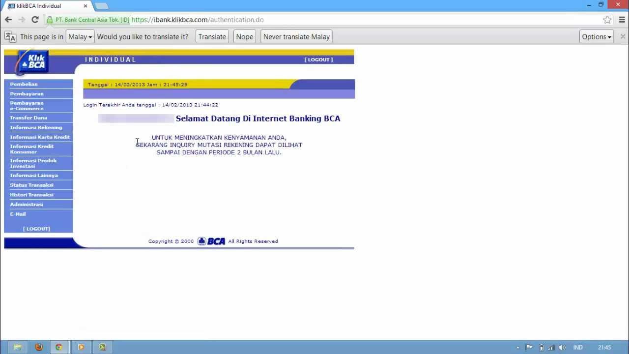 Cara Mutasi Rekening BCA melalui Internet Banking (klikbca