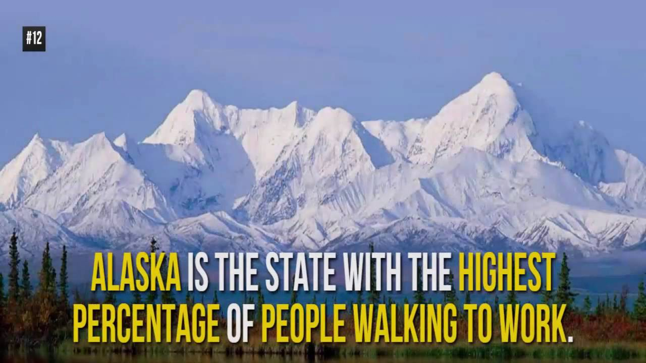 Image result for The State with the highest percentage of people who walk to work: Alaska
