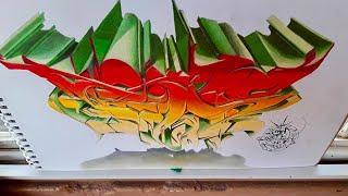 Graffiti Sketch wild style en 3D/boceto graffiti estilo salvaje 3d