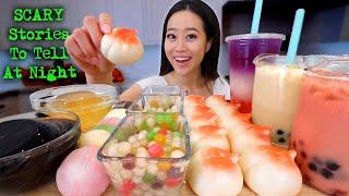 MOST POPULAR FOOD FOR ASMR: Peach Dessert + Boba + Glass Jelly + Mochi MUKBANG