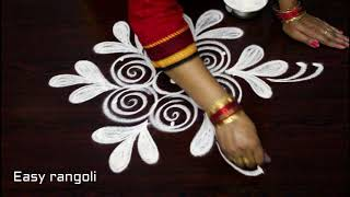 latest simple rangoli designs with 3 dots * easy muggulu * kolam with out colors *rangavalli