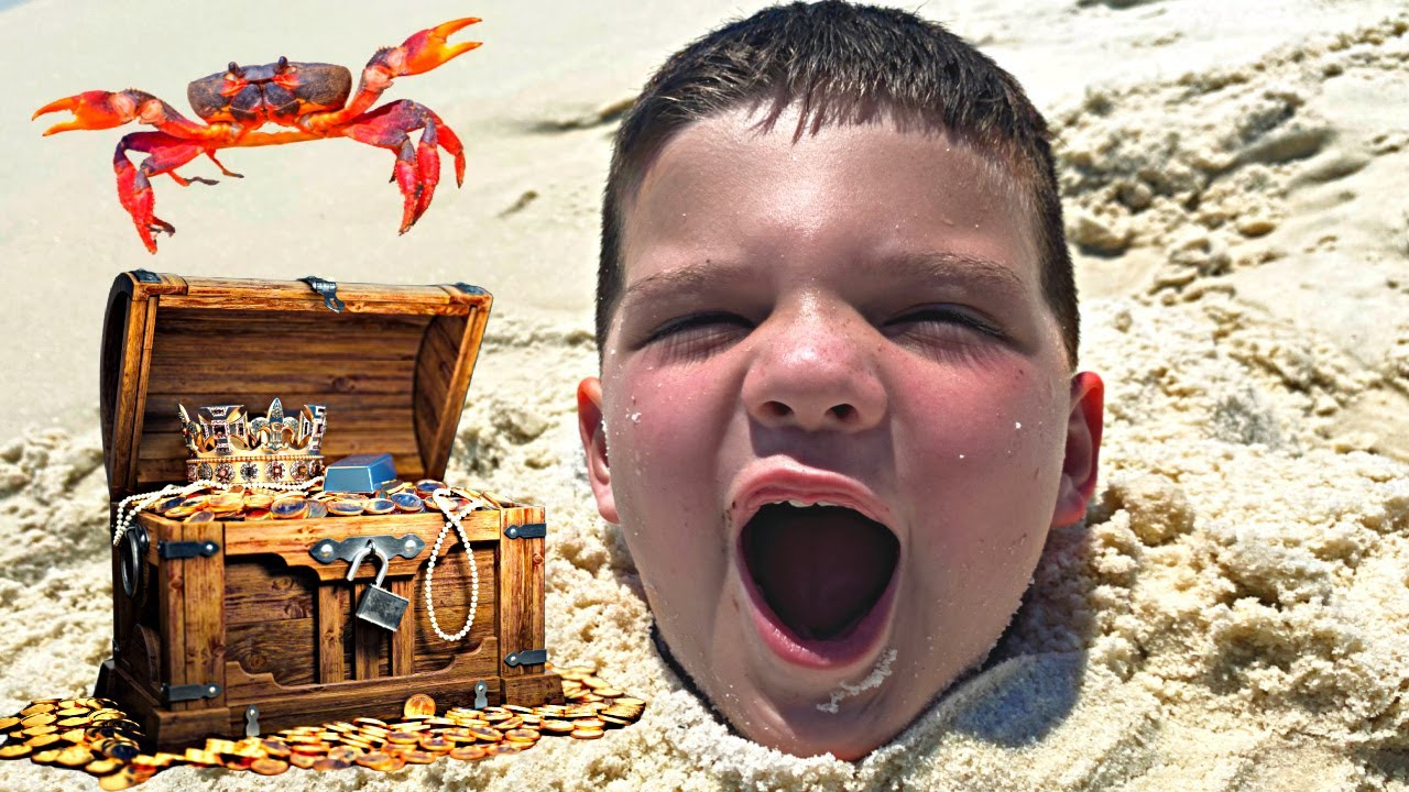 PLAYING IN THE SAND! Pirate Treasure Hunt, BABY Shark in Water at the Beach w/ Caleb Pretend Play!