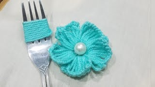 Hand Embroidery Amazing Trick# Easy Flower Embroidery Trick# Sewing Hack:Making Flower with Fork