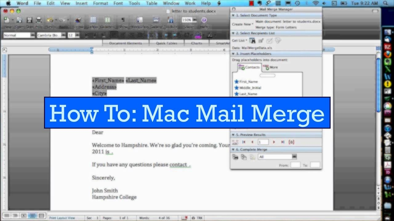 Starting Your Mail Merge