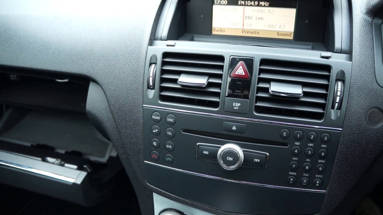 medium resolution of how to select aux input on mercedes c class w204 pre facelift by mercland