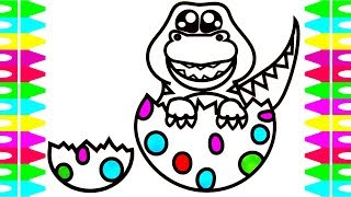 HATCHING EGGS -Baby DINOSAURS T-REX -Coloring Pages for Kids| Colors for Children,Toddlers, Babies