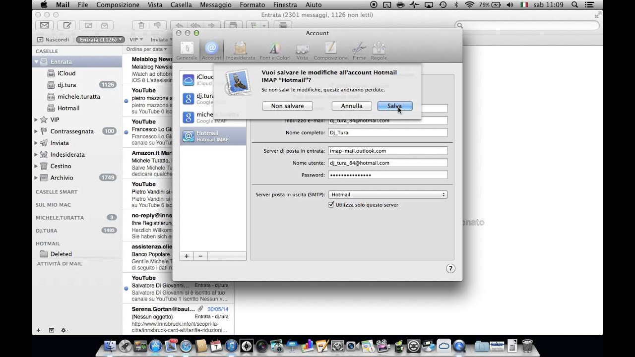 configurazione mail hotmail su mac