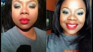 Green Eyes and Red Lip Makeup Tutorial Thumbnail