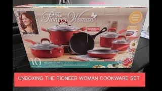The Pioneer Woman Vintage Speckled Cookware Set 24-Pieces Red Kitchen Pots Pans