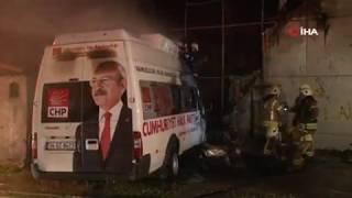 CHP seçim aracı yandı! Yanan araç için sabotaj şüphesi! video