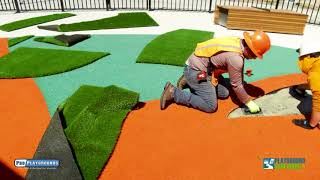 Poured in Place Rubber Playground Surfacing with Inlays and Turf