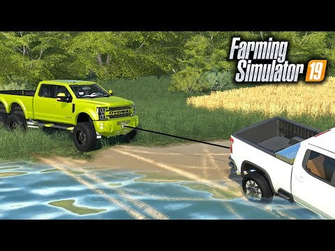 FS19- Winching Cars out of River with MEGA F-550 (20,000 LBS WINCH))