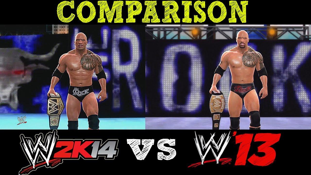 wwe 2k14 wwe 13 the rock comparison youtube