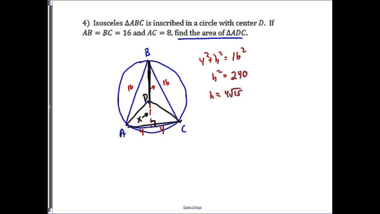 Problem: Isosceles Triangle Inscribed In A Circle