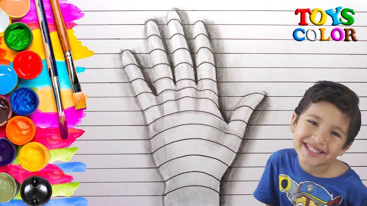 Como Dibujar en 3D una Mano, Dibujos para Niños en 3D, Dibujar y